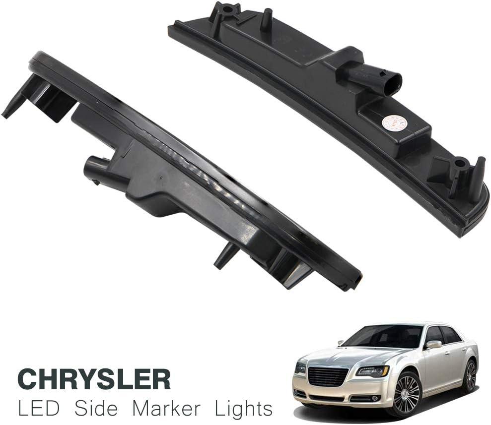 Smoke Lens Amber//Red Full LED Front Rear Side Marker Light Kits for Chrysler 300 2015 2016 2017 2018 2019 LED Turn Signal Lights Powered by Total 181-SMD LED Replace OEM Sidemarker Lamps