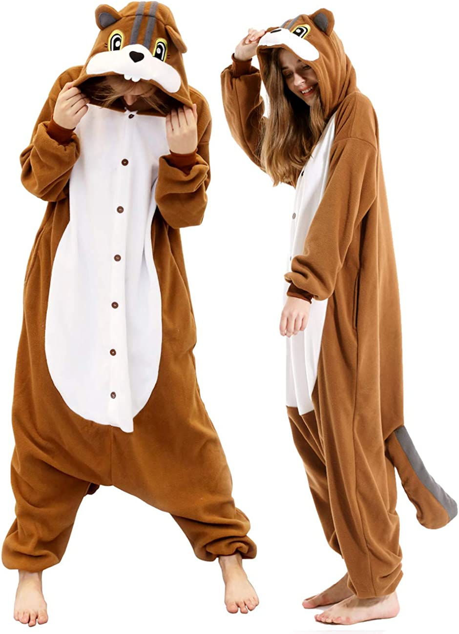Amazon Com Vavalad Adult Squirrel Pajamas Cosplay Animal Christmas Onesie Costume Women Men Clothing