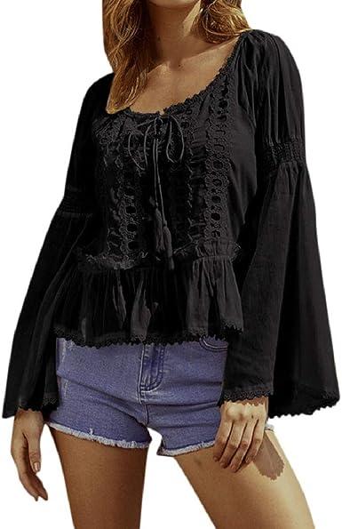 Blusas de Manga Larga Acampanada Princesa para Mujer Blusas con cordón de Borla de Volantes de Color Puro Camisa Casual Vintage Talla Grande S-5XL: Amazon.es: Ropa y accesorios