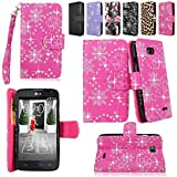 lg l70 phone accessories - Cellularvilla Wallet Case for Lg Optimus L70 (Metropcs) Ms323 / Optimus Exceed Ii (Verizon) Vs450 / Dual D325 Pu Leather Shiny Glitter Wallet Card Flip Open Pocket Case Cover Pouch (Pink Glitter)