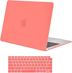 MOSISO MacBook Air 13 inch Case 2020 2019 2018 Release A2179 A1932 with Retina Display, Plastic Hard Shell Case & Keyboard Cover Only Compatible with MacBook Air 13 with Touch ID, Living Coral