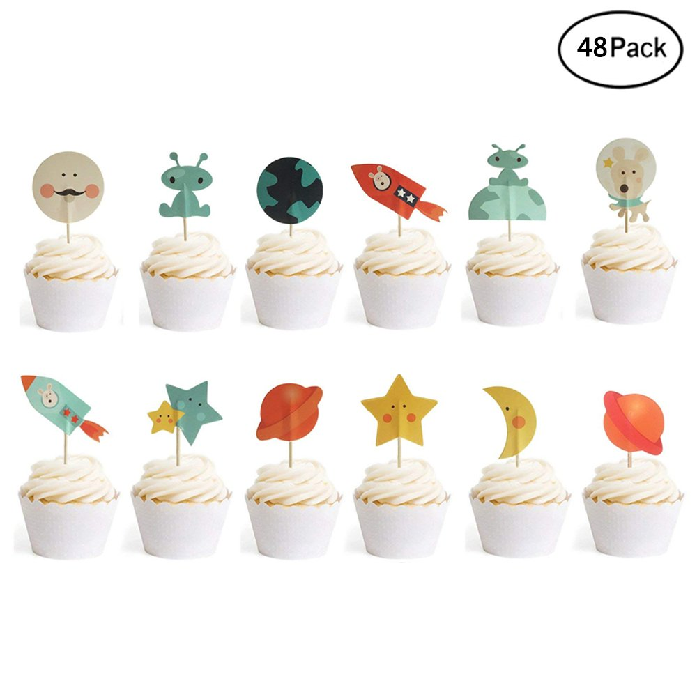 Finduat [48 Pack] Space Party Decoration Cupcake Toppers Rocket Themed Spaceship Outer Space Dog Cupcake Toppers Party Aliens Cake Decorative