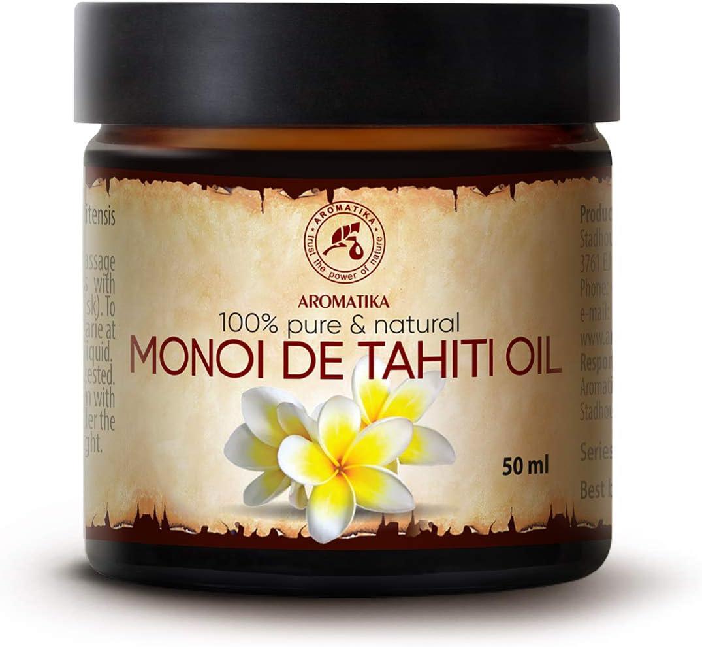 Aceite de Monoi de Tahiti 50ml - Francia - 100% Natural - Prensados en Frío - Multifuncional - Humectante - para el Rostro - Cabello - Piel - Relajación - Masaje - Cuidado Corporal