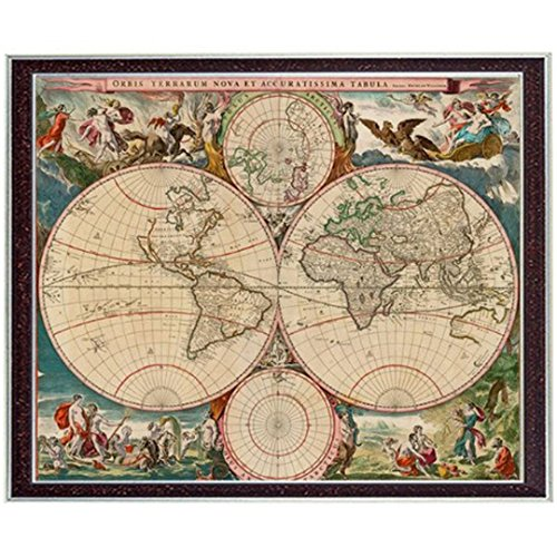 Kuwoolf Needlework Crafts 14CT Unprinted Embroidery French Counted Cross Stitch Set Oil Painting New World Map 17th Century