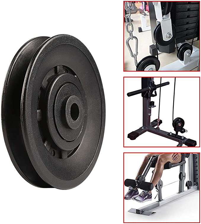 Harilla 2 Pieces Pulley Block Gym Single Wheel Spin Pulleys Guide Workout Attachment