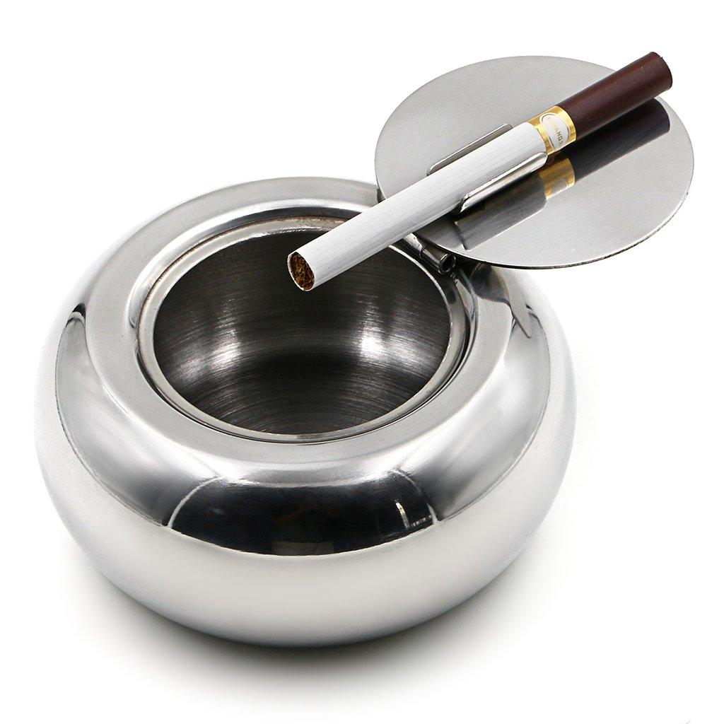 BTSKY Forma Tambor de Acero Inoxidable a Prueba de Viento Moderno sin Humo de Cigarrillos Titular de Mesa Cenicero Ceniza cigarro con la Cubierta de la ...