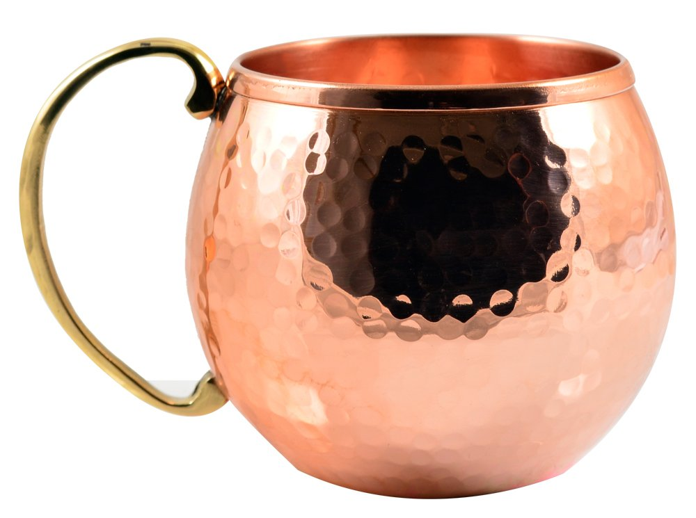 CopperBull Thickest Heaviest Hammered 1 mm Copper Mug Cup Set for Water Moscow Mule Ayurvedic Healing,20 Oz (4X)