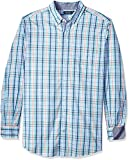 Nautica Men 's Grande y Alto Manga Larga Grande Plaid Camisa de Botón Abajo, Coastal Sky, 4X Grandes-Alto