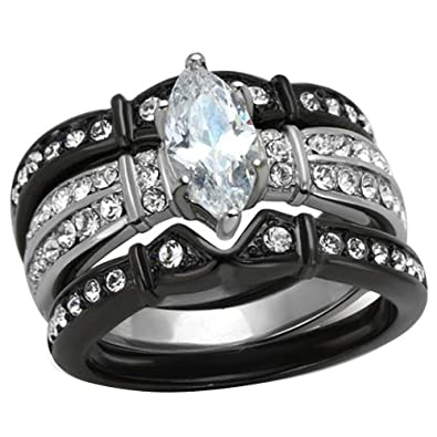 Black Stainless Steel Marquise Cubic Zirconia Wedding Ring Set Women Size 5 SPJ