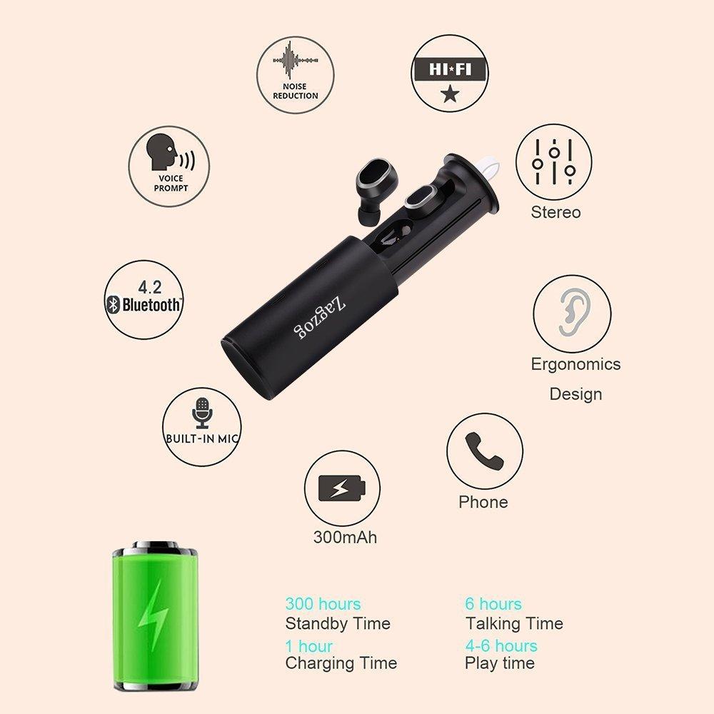 Zagzog Mini Auriculares Bluetooth Inalámbricos Manos Libres Sin Cable Estéreo HiFi Micrófono Incorporado y Cancelación de Ruido CVC6.0 Cargador Portátil ...