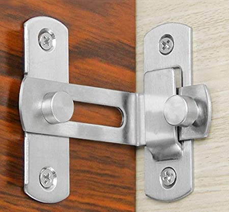 Door Bolt Right Angle Latch Hasp Stainless Steel Window Gate Safety Lock Buckle