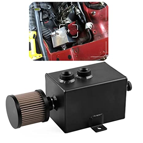 Paint, Body & Trim Reservoirs Aluminum Oil Catch Can Tank With Breather & Drain Tap 2LT Baffled Reservoir Tank Black