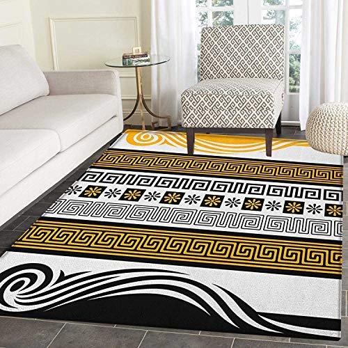 - Greek Key Anti-Skid Area Rug Neoclassical Borders Collection Meander Pattern and Flowers with Waves Door Mat Increase 5'x6' Marigold Black White