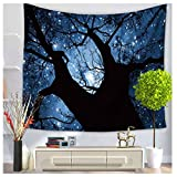 WCHUANG Forest Tapestry, Wall Hanging Tapestries Wall Art, Dorm Décor Starry Bedspread