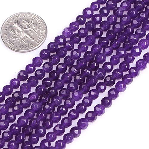 (GEM-Inside Faceted Jade Gemstone Losse Beads Natural 4mm Purple Round Smooth Energy Stone Power Beads for Jewelry Making)
