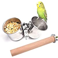 Hamkaw Bird Parrot Feeding Cups, Double Stainless Steel Bird Food Water Bowls Cups Perches Play Stand With Clamp Bird Cage Outside Feeder For Macaw Parakeet Small Pets Animals