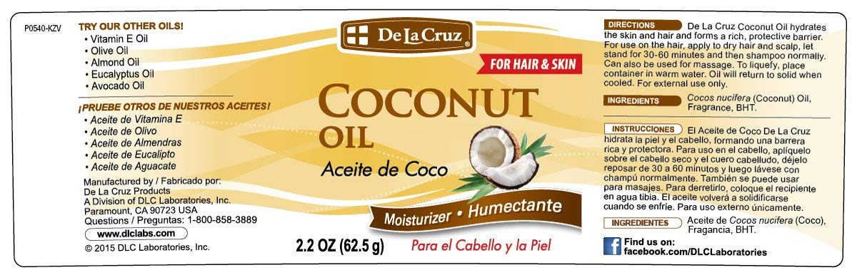 Amazon.com : De La Cruz Coconut Oil, No Parabens or Artificial Colors, Packed in USA 2.2 OZ. (2 Jars) : Beauty