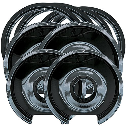 Electric Hinged Drip Pans - Range Kleen P1056RGE8 Style D Black Porcelain 4-Pack Drip Pans and 4-Pack Trim Rings for GE/Hotpoint