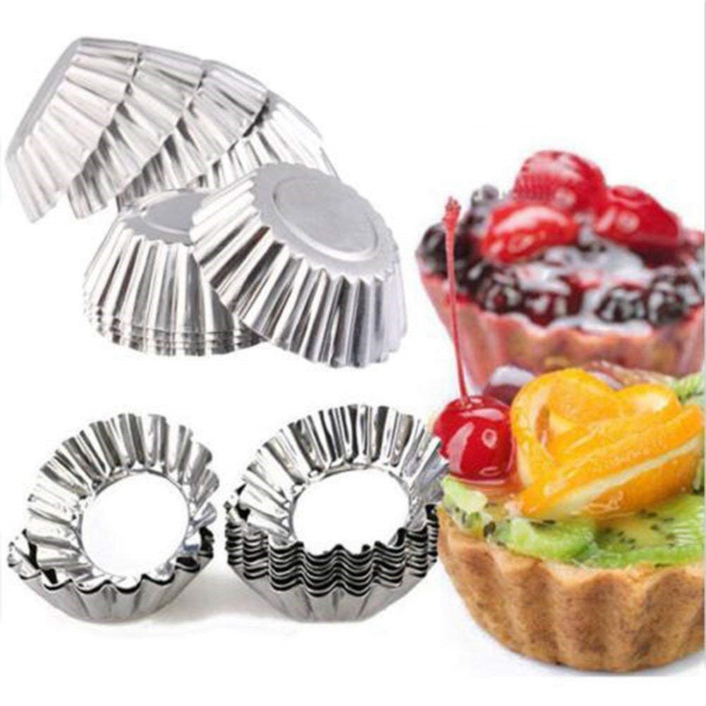 20pcs Baking Circular Egg Tart Aluminum Cupcake Cake Cookie Mold Lined Mould Tin Baking Tool Cake Cups Pie Pans Yosoo Yosoo-819