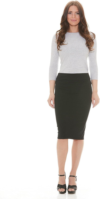 ESTEEZ Lightweight Cotton Spandex Knee Pencil Skirt at  Women's Clothing store