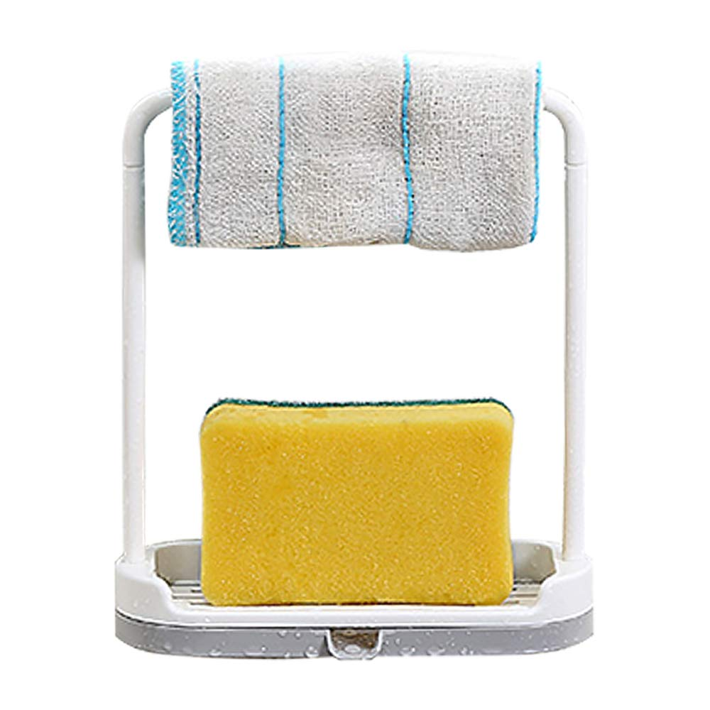 Dishcloth Holder Sponge Holder Stand Rack with Drip Tray for Kitchen Sink, Plastic Sink Tidy Organizer for Sponges,Scrubber, Rag and Cleaning Supplies by Wing