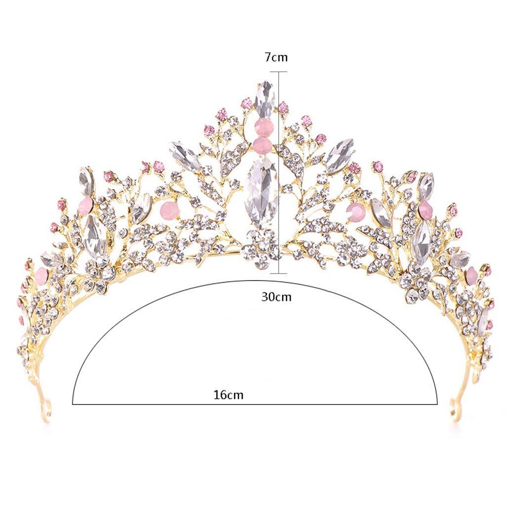 Poudre dargent Clair ZJ-Crown Noble Alliage de Cristal Rose Couronne Coiffe Princesse Cadeau danniversaire Couronne Tiara mari/ée Mariage Robe Accessoires
