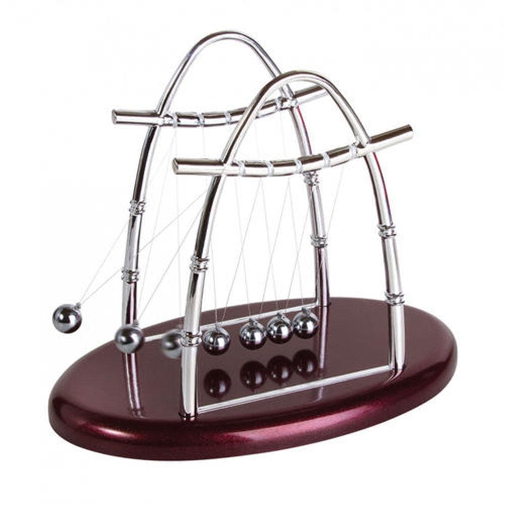 MaxxCloud Newton's Cradle Balance Balls Art in Motion Pendulum Science Physics Puzzle Desk Office Toy (Large)