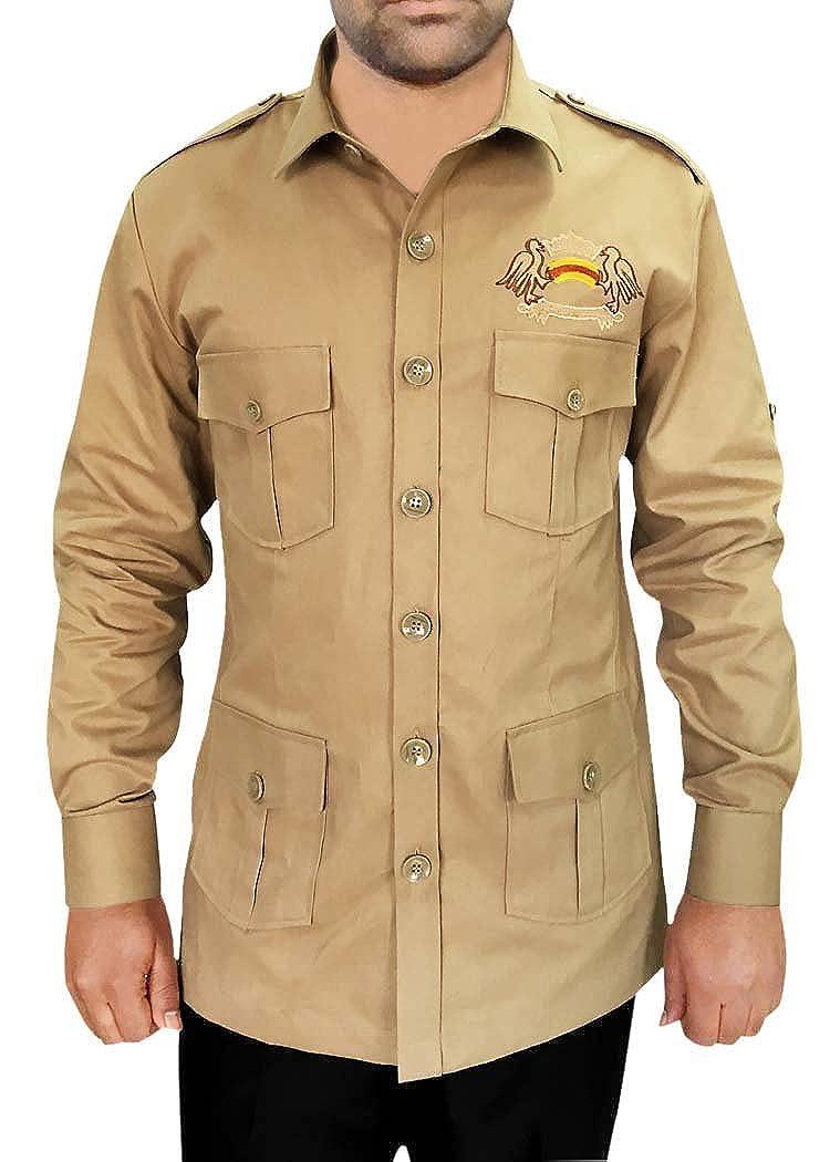 INMONARCH Safari Mit 4 Taschen Khaki Baumwolle Bush Shirts HS109