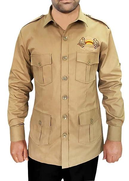 INMONARCH Safari con 4 Bolsillos Caqui Arbusto Camisetas de Algodón HS109SMALL S (Small) Caqui