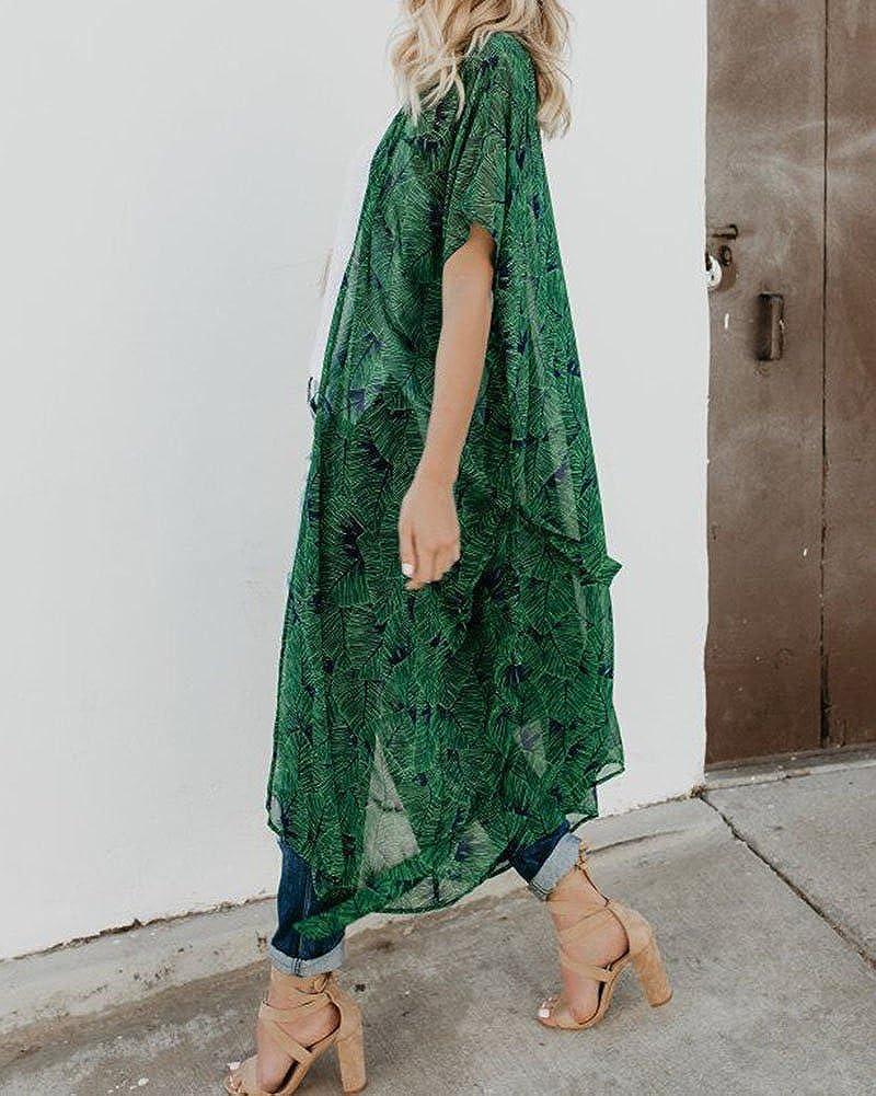 Liangzhu Femmes Impression en Mousseline De Soie Kimono Cardigan Chemisier Hauts Manteau
