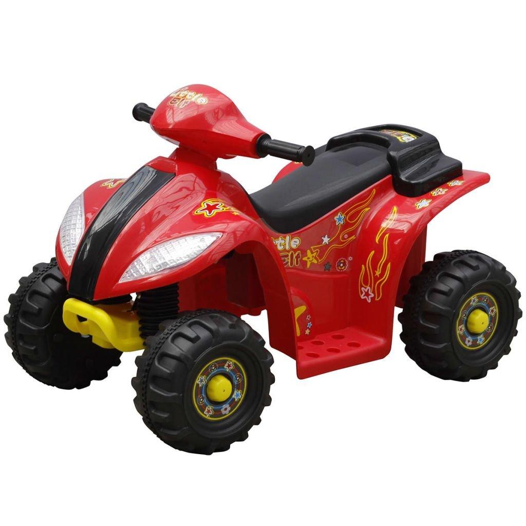vidaXL Quad de Batería Eléctrica para Niños Rojo y Negro Vehículo Correpasillo