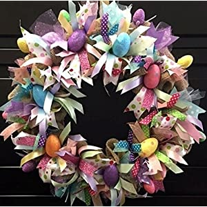 Easter Spring Burlap Holiday Wreath with Sparkle. Super Cute & Whimsical 71