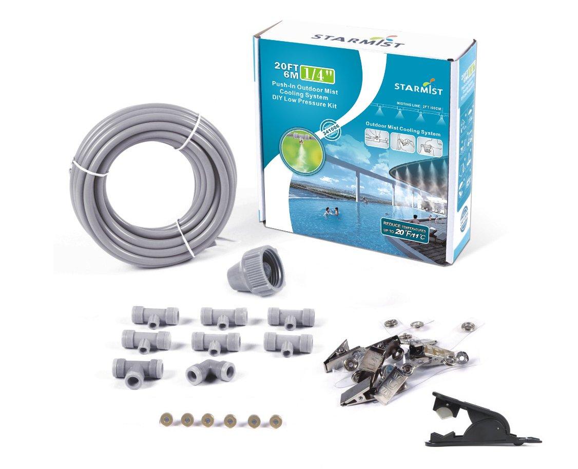 "Starmist 341006 Push-In Outdoor Mist Cooling System DIY Low Pressure Kit, 6m/20'/1/4"""