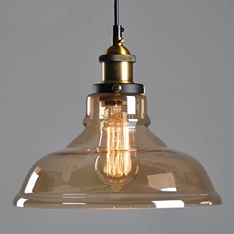 Amazon.com: Amber Glass Lamp Shade Retro Ceiling Lamp ...