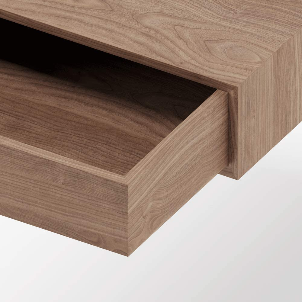 D-29 madera Ancho 70cm x Alto 37cm x Fondo 28cm Nogal MUEBLECASA- Consola con cajon estrecha MONTADA