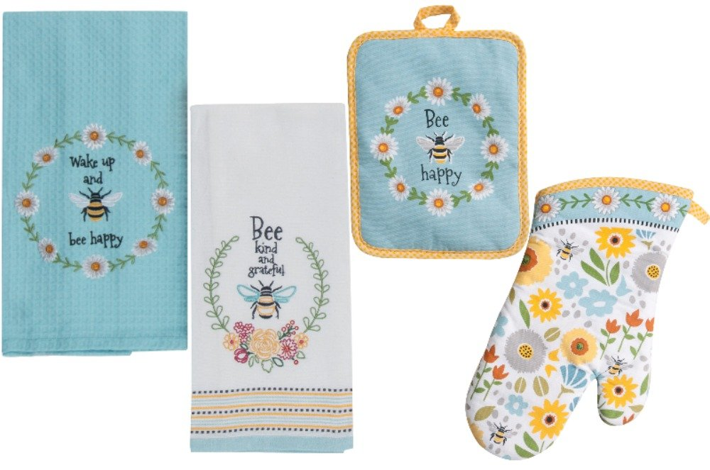 Bee Themed Kitchen Linens Set: Bundle Includes 1 Oven Mitt, 1 Potholder, 2 Kitchen Towels in a Garden Bee Design TLP Party