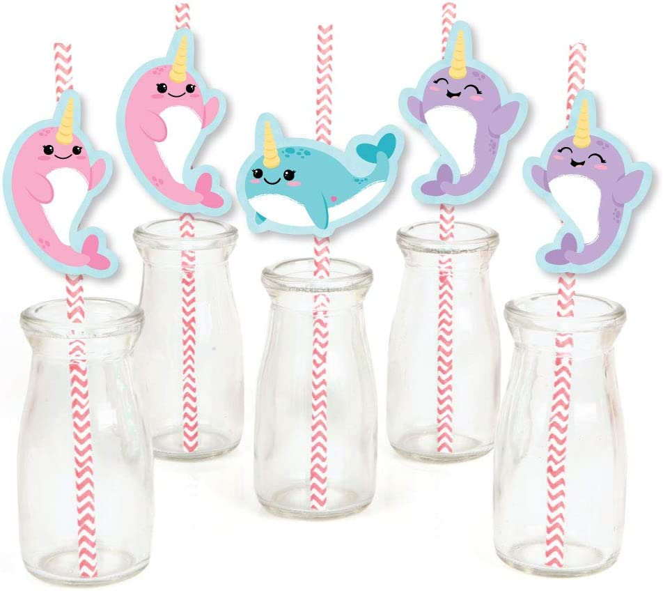 Narwhal Girl - Paper Straw Decor - Under The Sea Baby Shower or Birthday Party Striped Decorative Straws - Set of 24