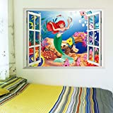 """ufengke home Colourful Mermaid Underwater Cartoon Wall Art Stickers Inspired """"Under the Sea"""" Wall Decal 3D Effect View Outside the Window Removable DIY Mural for Nursery, Children's Bedroom"""