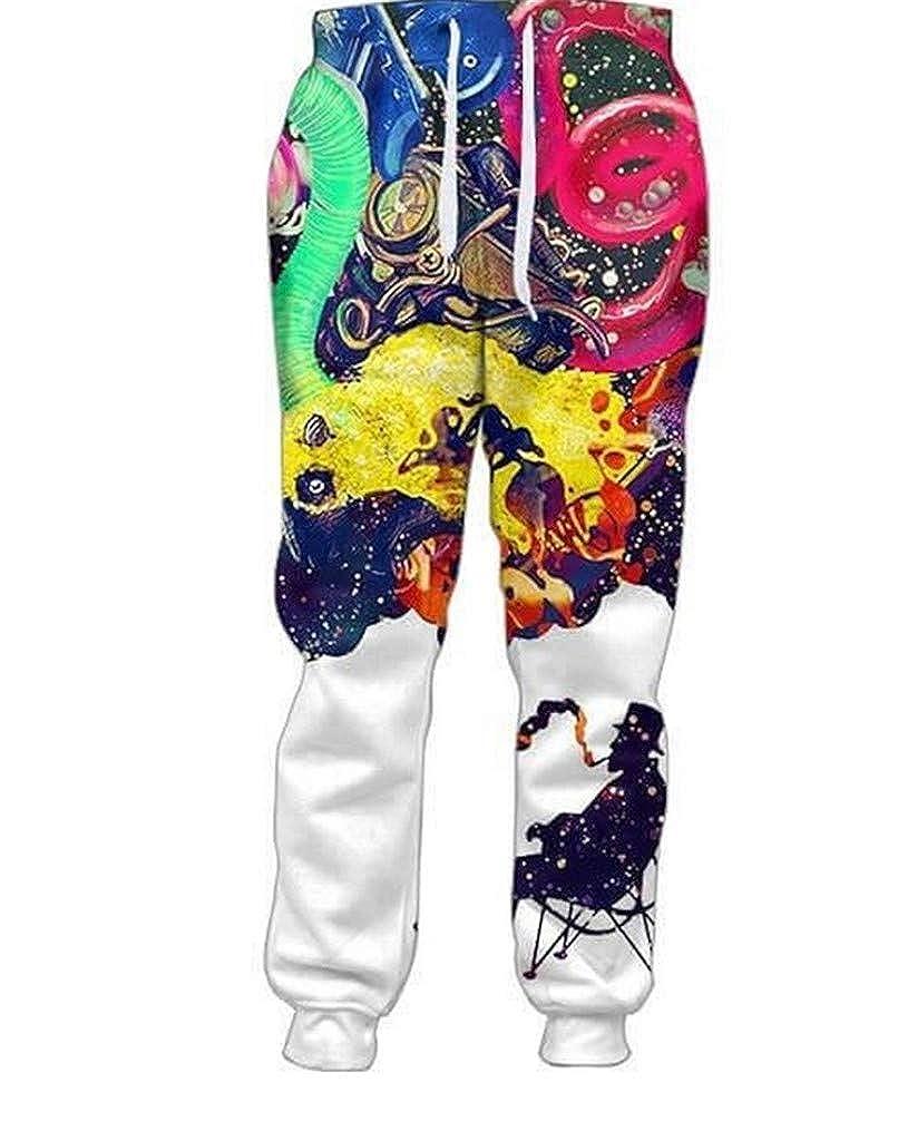 KKWF Mens Long Pants Smoking 3D Print Joggers Fashion Trousers Size Men Women