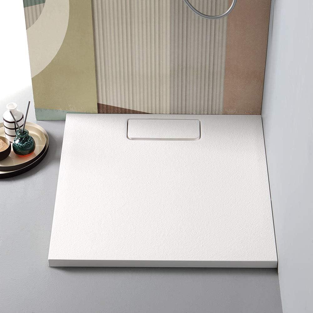 Plato de ducha de 80 x 80 cm, de resina blanca mate, hilo de suelo ...
