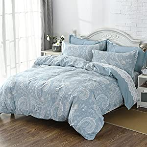 Good FADFAY Paisley Bedding 300 Thread Count 100% Cotton Bed Sheet Set,  Breathable, Hypoallergenic, Durable, Stylish Design Bed Sheets, 4Pcs Blue Paisley  Bedding ...