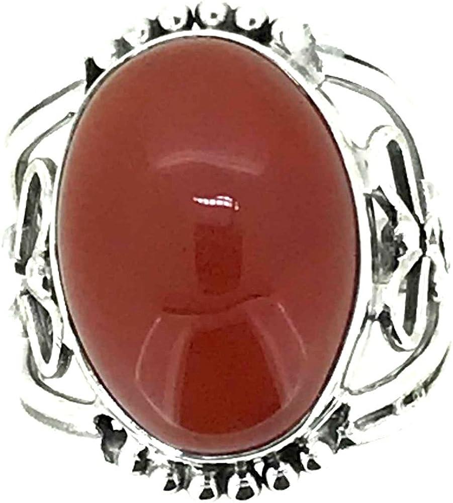 srgjewellers 925 Sterling Silver Ring US Size-6.75 Carnelian Gemstone Handmade Jewelry # 14442