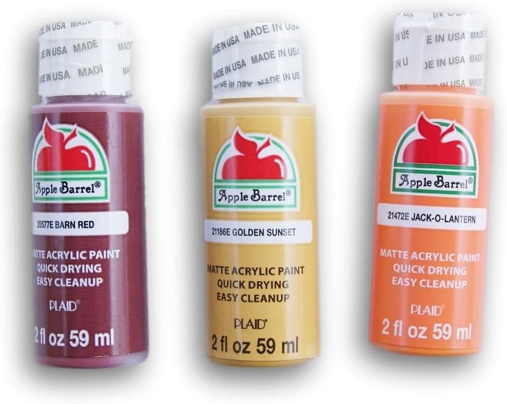 Apple Barrel Fall Themed Acrylic Paint Set - Barn Red, Golden Sunset, and Jack-o-Lantern (2 oz each)