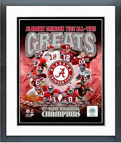 "NCAA University of Alabama Crimson Tide All Time Greats Composite Photo (Size: 12.5"" x 15.5"") Framed"