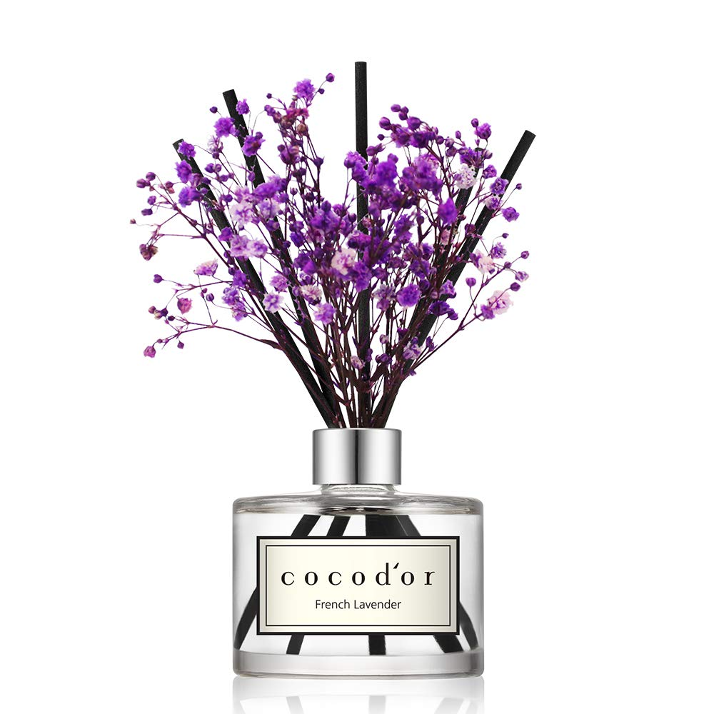 Cocod'or Preserved Real Flower Diffuser/French Lavender/6.7oz/Diffuser Oil & Sticks Set/Fragrance for Home Office Aromatherapy and Gifts by Cocod'or