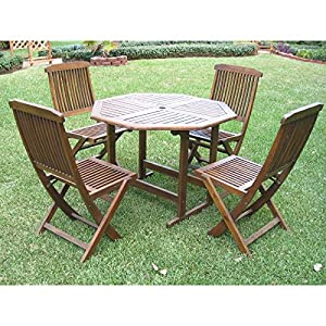 Patio Furniture Dining Set,Hamilton ,Outdoor Constructed From Durable  Acacia Wood Round Patio Dining Set 5 Piece Part 87