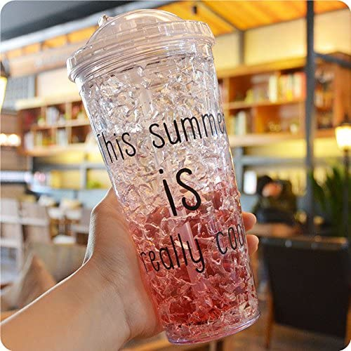Taza de hielo de verano con pajitas de gel para congelador de ...