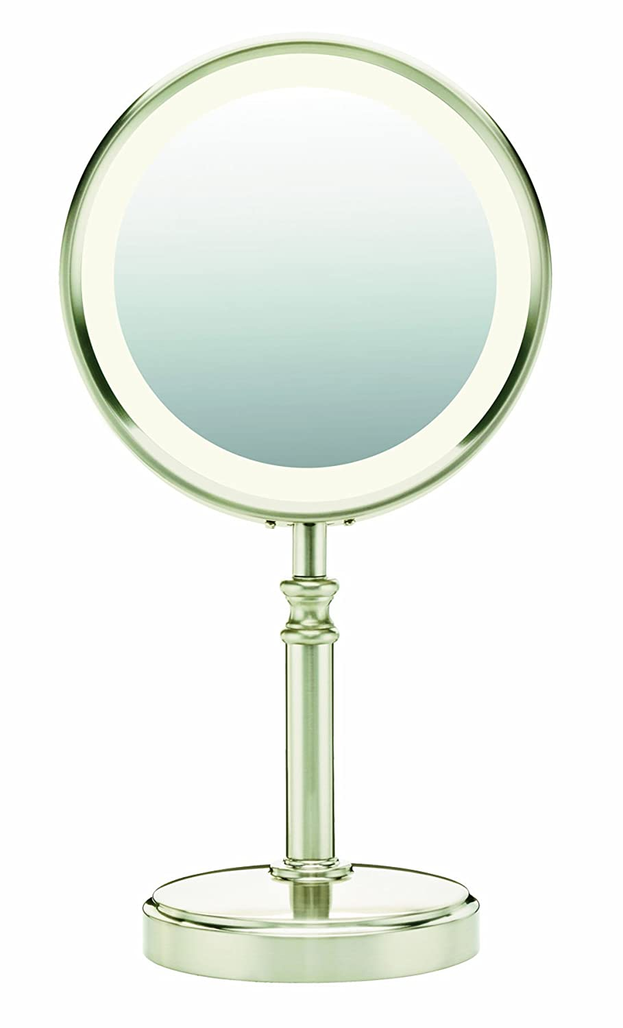 amazoncom conair round shaped fluorescent lightening doublesided lighted makeup mirror 1x10x satin nickel finish personal makeup - Lighted Vanity Mirror