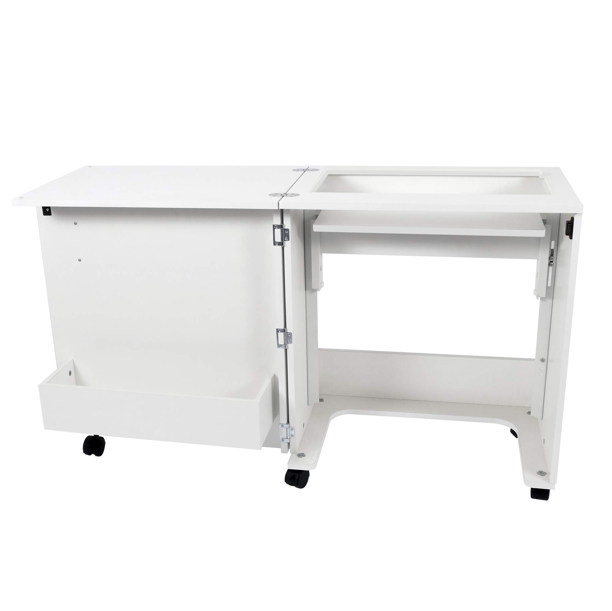 Arrow 101 Judy Sewing and Craft Table with Storage and Adjustable 3-Position Lift, White by Arrow Sewing Cabinets
