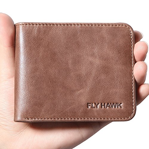 FlyHawk RFID Blocking Genuine Leather Wallets Mens Biford MiniSlim Size Wallet (Mini Wallet-RFID Blocking, Coffee-Classic)
